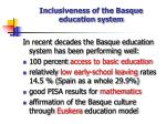 inclusiveness of the basque education system