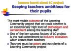 lessons learnt about lc project keeping teachers ambitious for their pupils