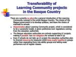 transferability of learning community projects in the basque country