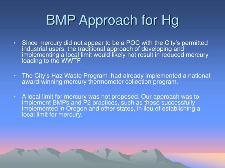 BMP Approach for Hg