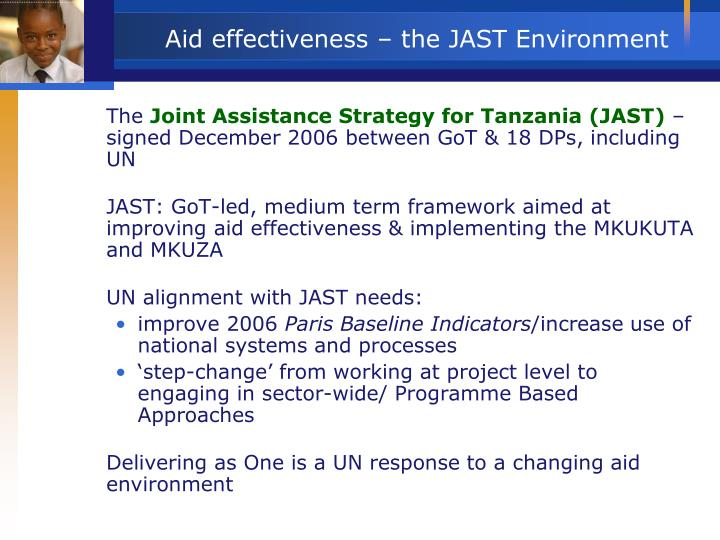 Aid effectiveness the jast environment
