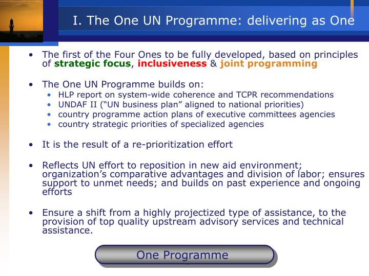 I. The One UN Programme: