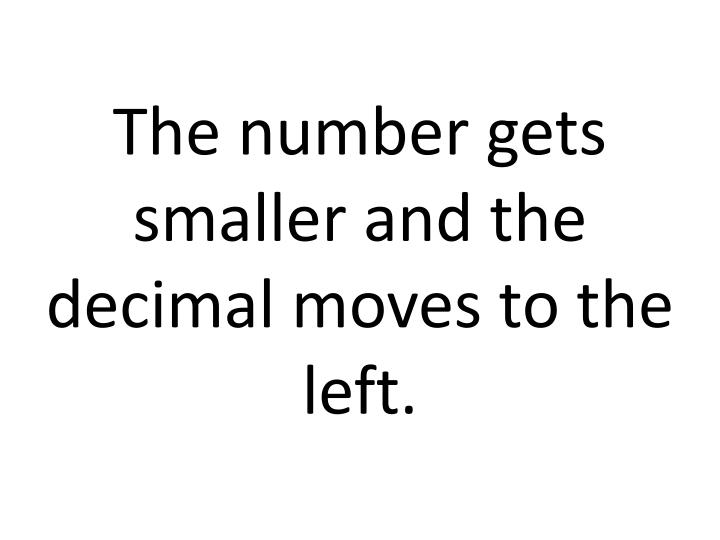 The number gets smaller and the decimal moves to the left.