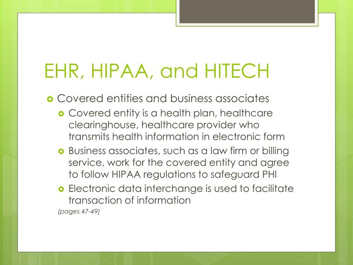 EHR, HIPAA, and HITECH