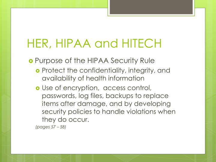 HER, HIPAA and HITECH