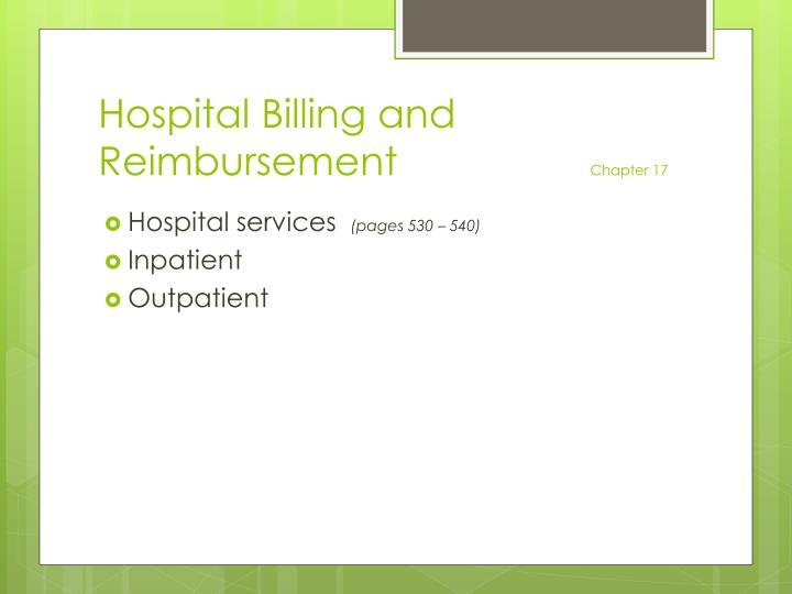 Hospital Billing and Reimbursement