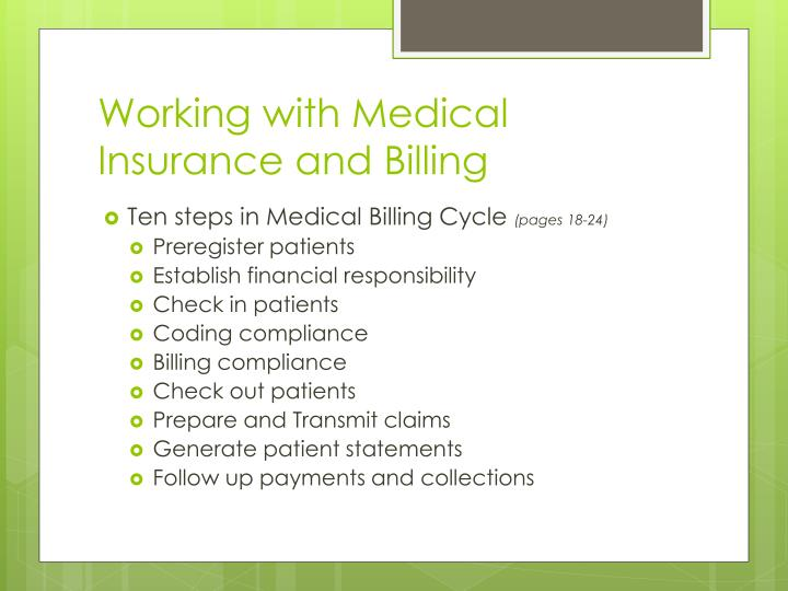 Working with Medical Insurance and Billing