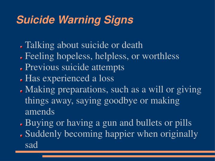 Talking about suicide or death