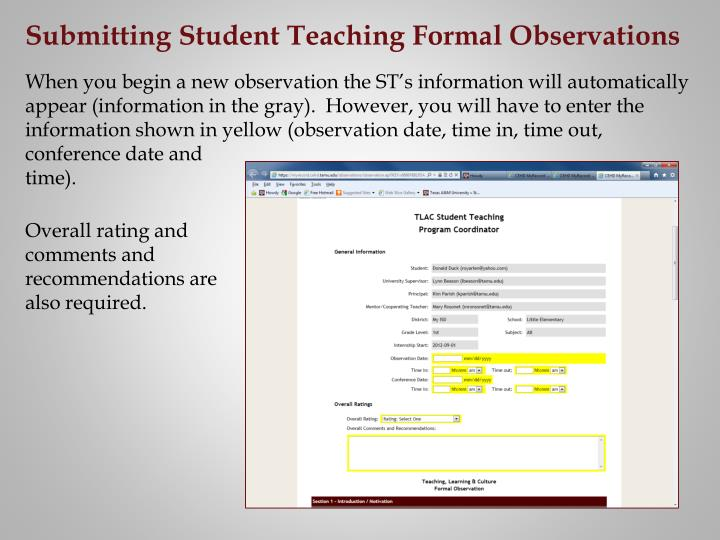 Submitting Student Teaching Formal Observations