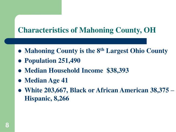 Characteristics of Mahoning County, OH