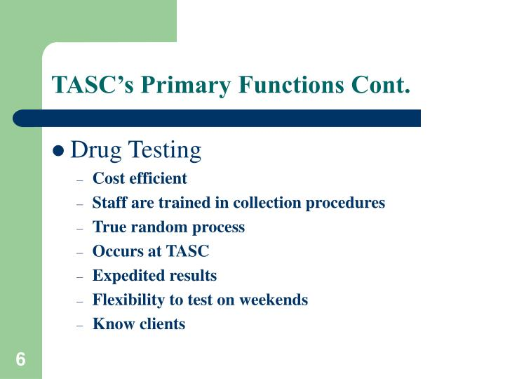 TASC's Primary Functions Cont.