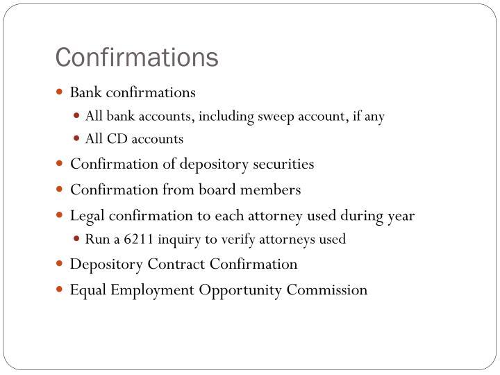 Confirmations