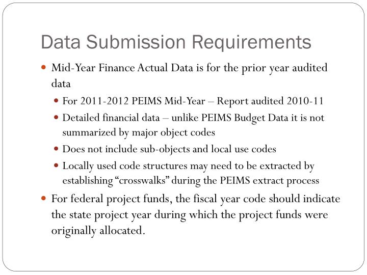 Data Submission Requirements