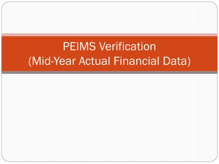 PEIMS Verification