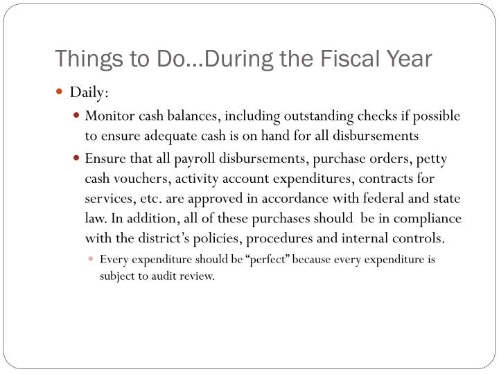Things to Do…During the Fiscal Year