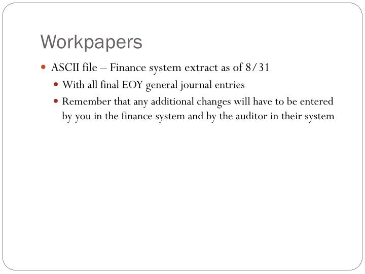 Workpapers