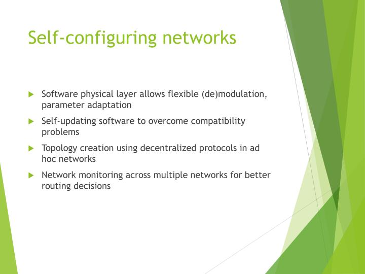 Self-configuring networks