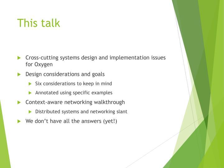 This talk