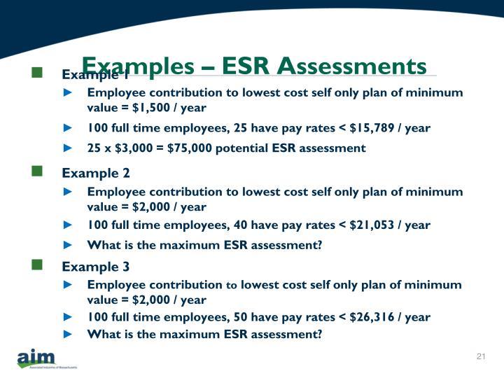 Examples – ESR Assessments