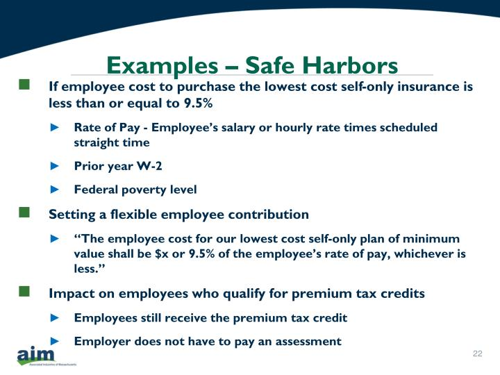 Examples – Safe Harbors