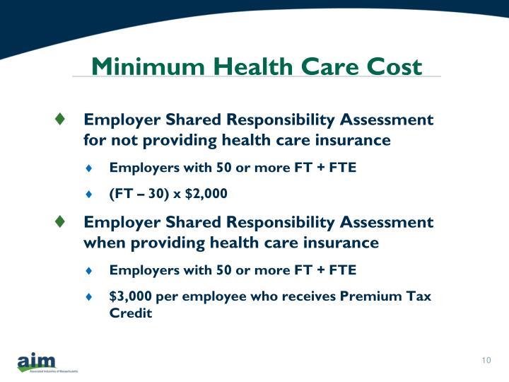 Minimum Health Care Cost