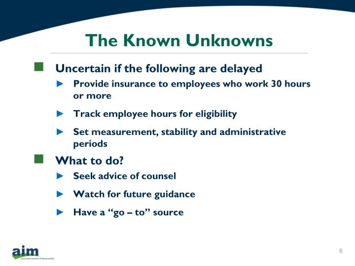 The Known Unknowns