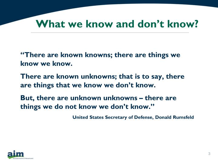 What we know and don t know