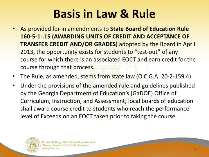 Basis in law rule