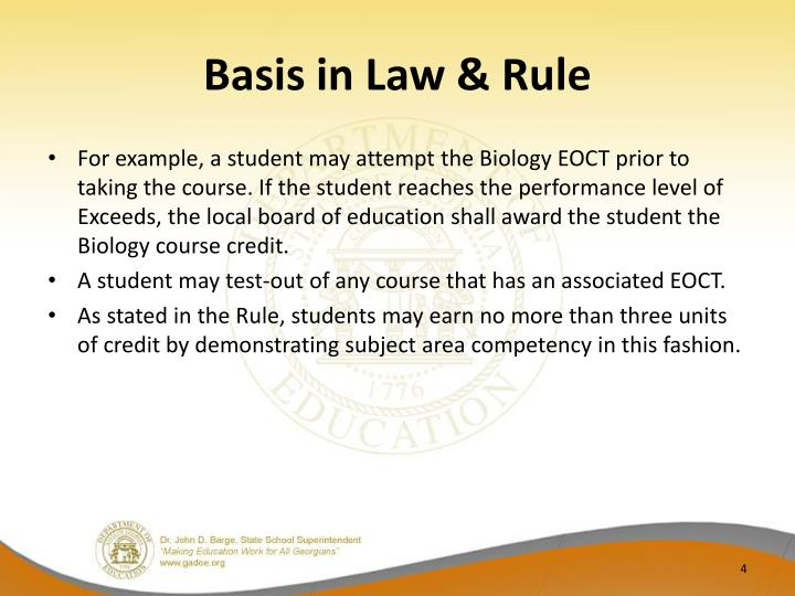 Basis in Law & Rule