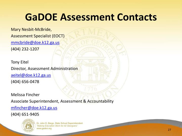GaDOE Assessment Contacts