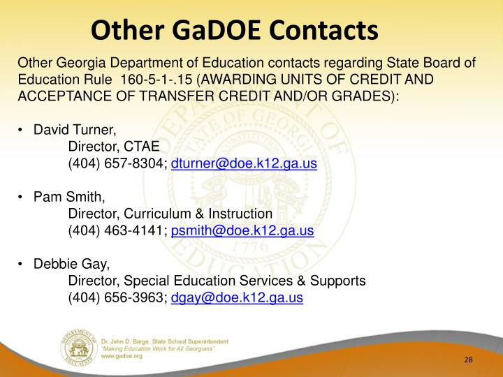 Other GaDOE Contacts