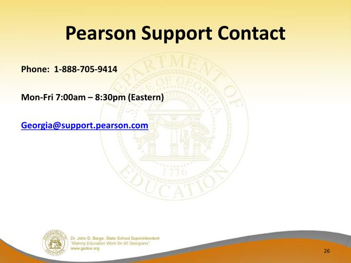 Pearson Support Contact