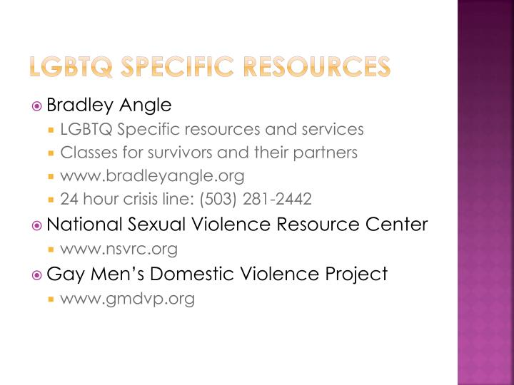 LGBTQ specific resources