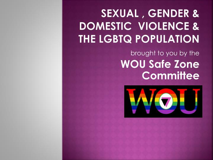 Sexual gender domestic violence the lgbtq population