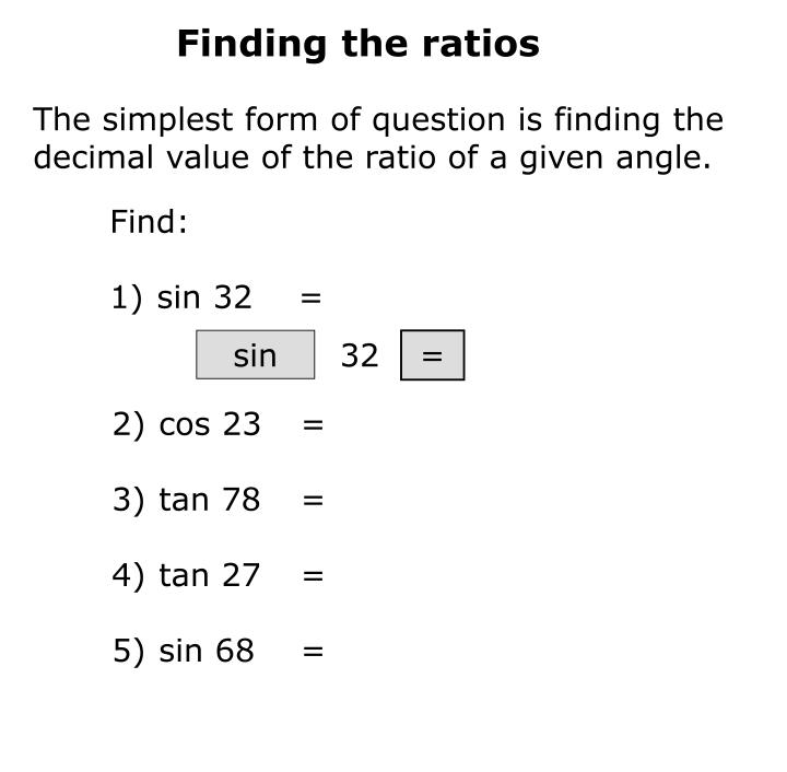Finding the ratios