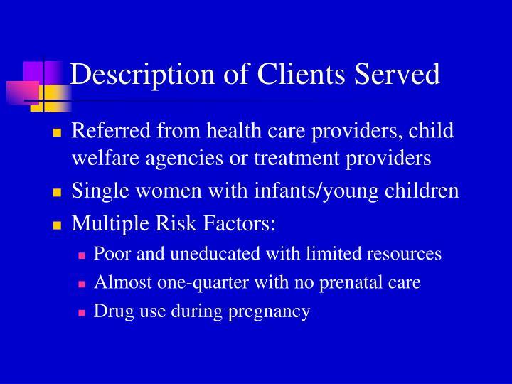 Description of Clients Served