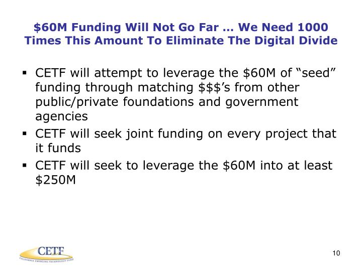$60M Funding Will Not Go Far … We Need 1000 Times This Amount To Eliminate The Digital Divide