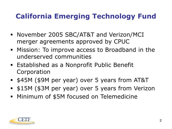 California emerging technology fund