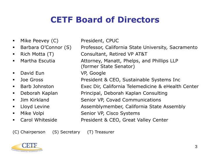 CETF Board of Directors