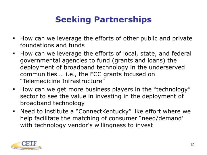 Seeking Partnerships