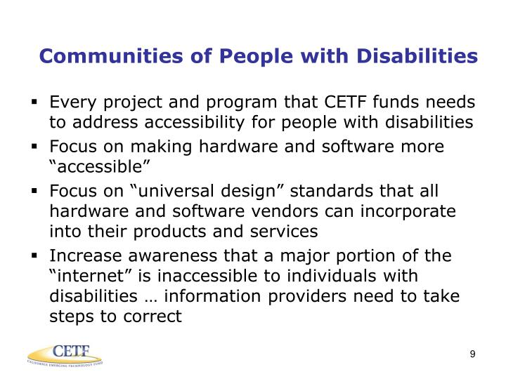Communities of People with Disabilities