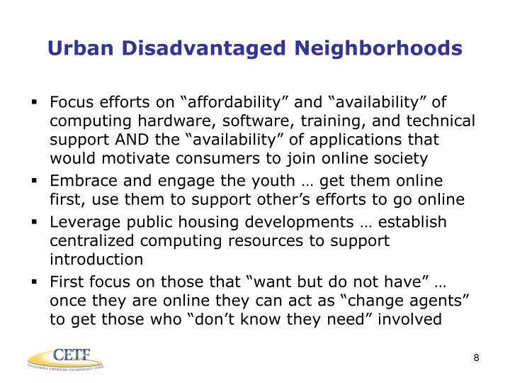 Urban Disadvantaged Neighborhoods