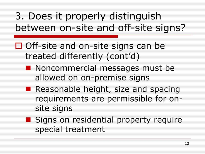 3. Does it properly distinguish between on-site and off-site signs?