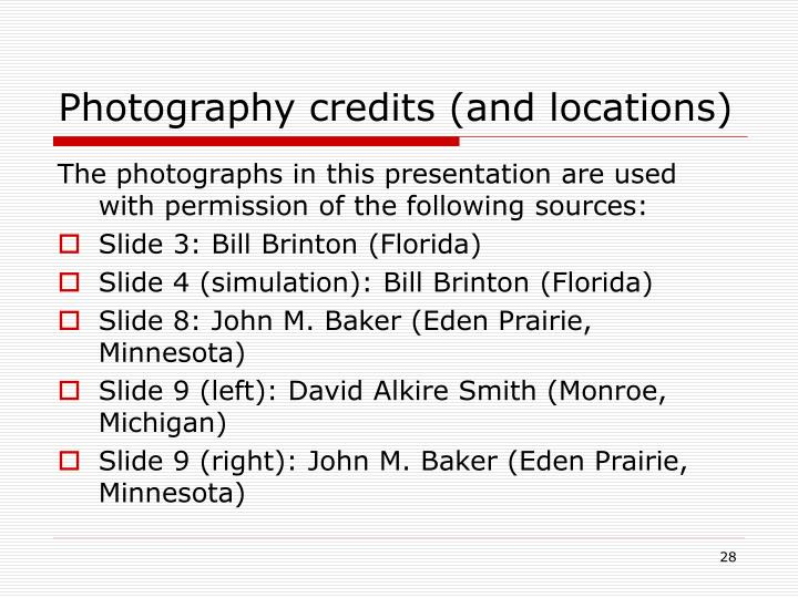 Photography credits (and locations)