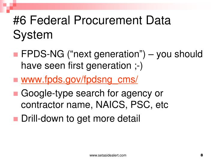 Federal Procurement Data System : Ppt best practice tools for finding federal