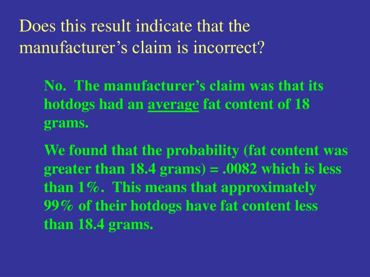 Does this result indicate that the manufacturer's claim is incorrect?