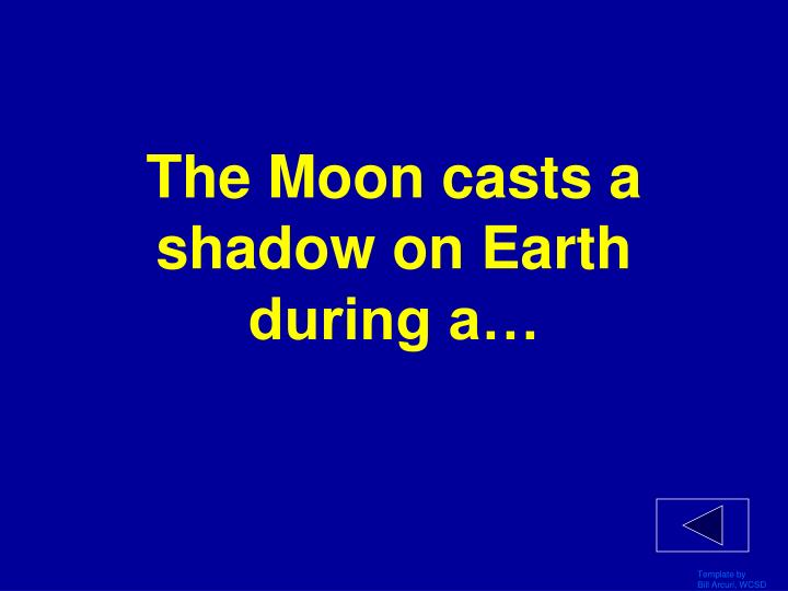 The Moon casts a shadow on Earth during a…