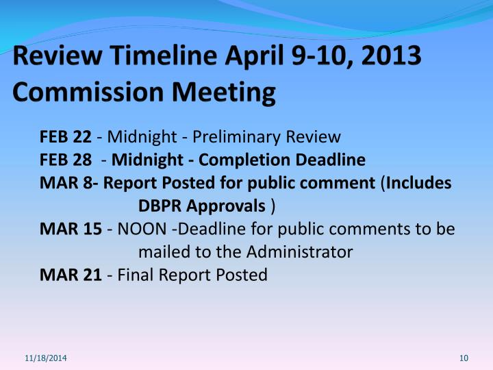 Review Timeline April 9-10, 2013 Commission Meeting