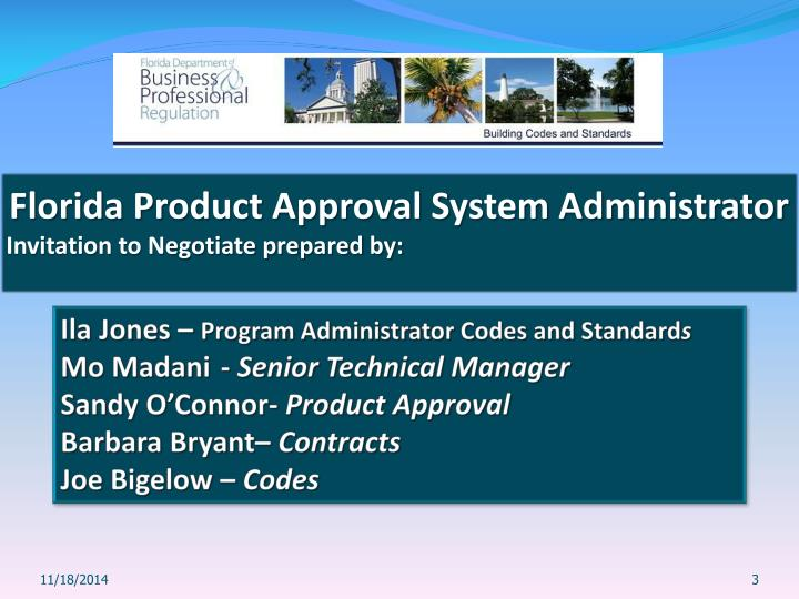 Florida Product Approval System Administrator