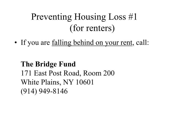 Preventing Housing Loss #1